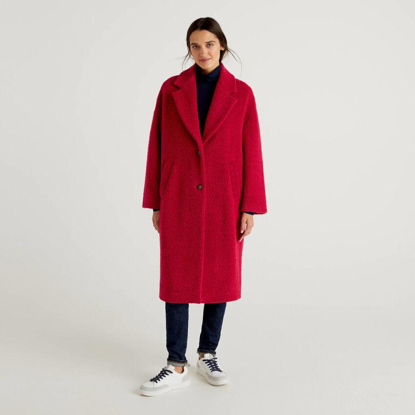 Abrigo largo con efecto bouclé