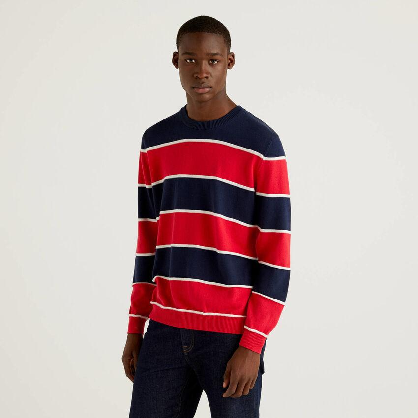 Jersey de rayas de 100 % algodón de tacto cálido