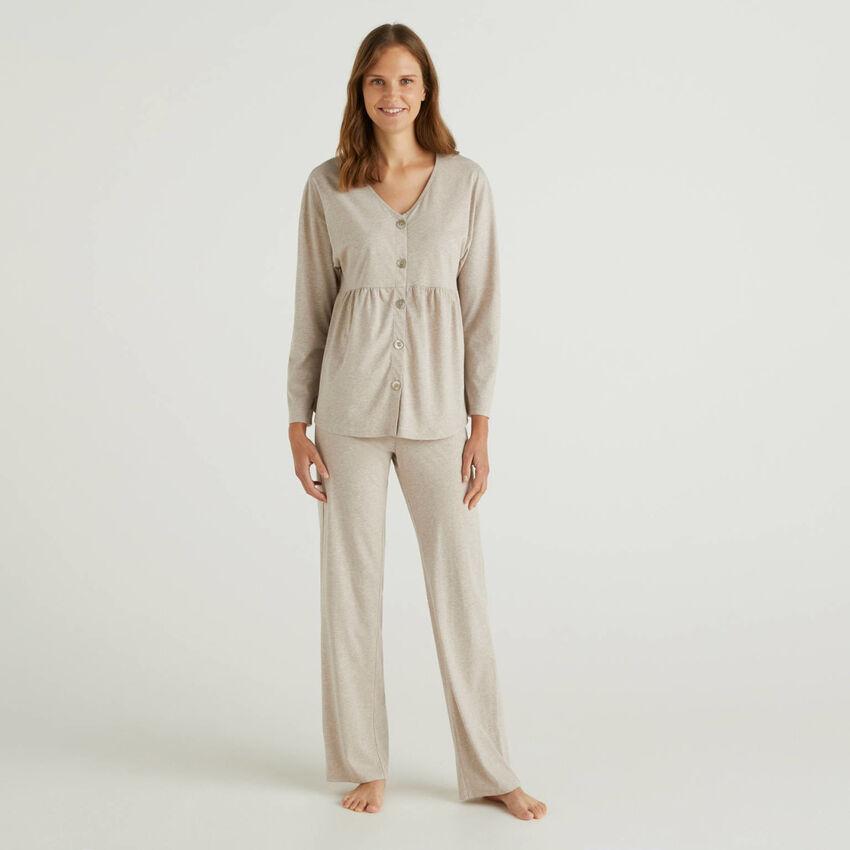 Pijama de algodón de fibra larga