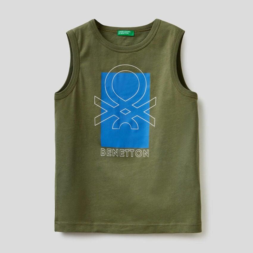 Camiseta sin mangas con estampado de logotipo