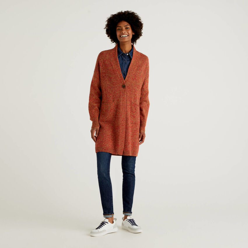 Abrigo de pura lana tricot Shetland