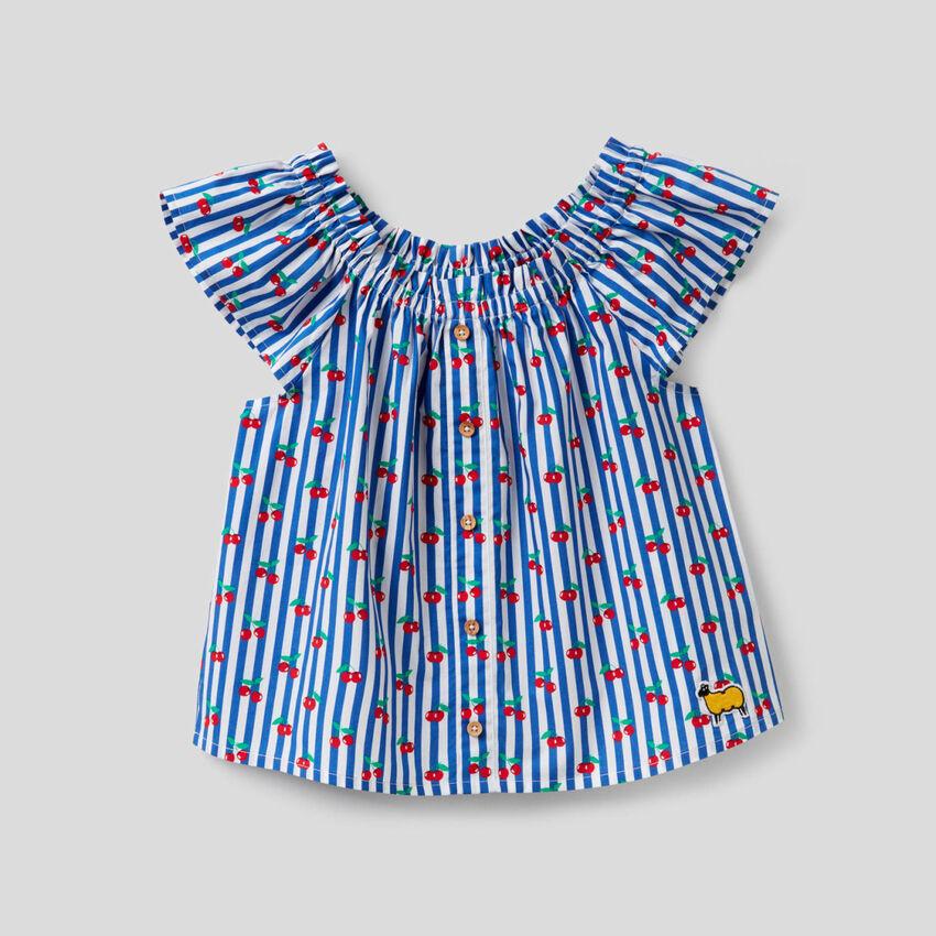 Blusa estampada de 100% algodón