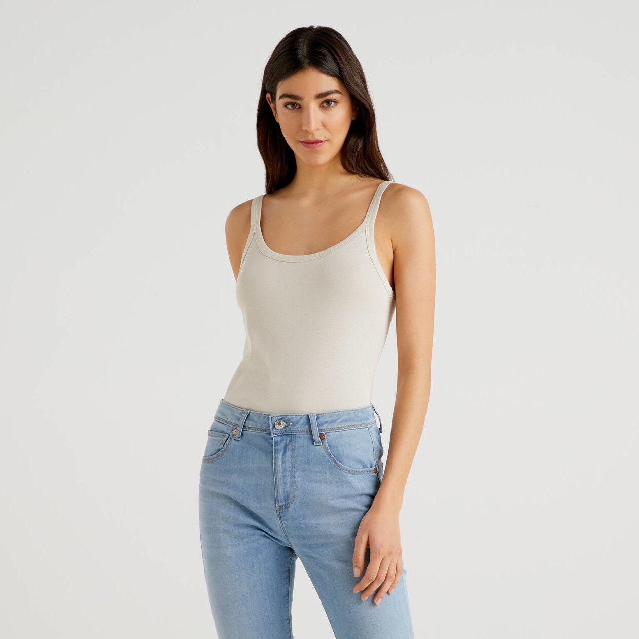Camiseta de tirantes beige de algodón puro