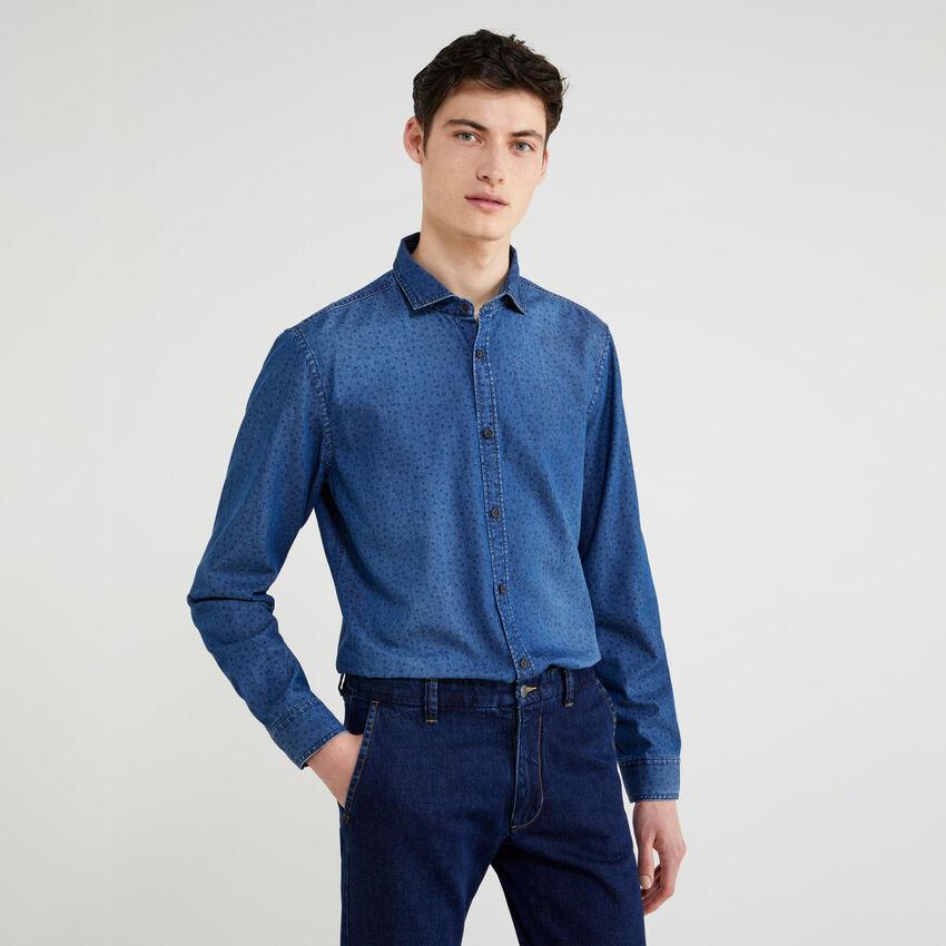 Camisa slim fit de cambray