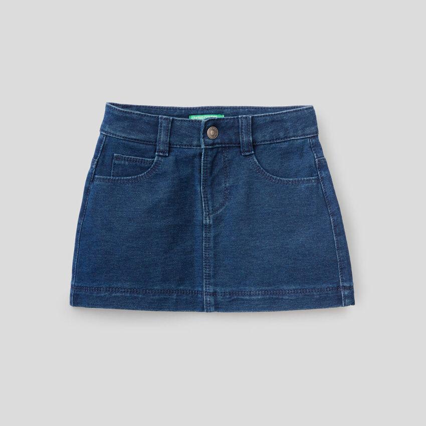 Minifalda de felpa de efecto denim