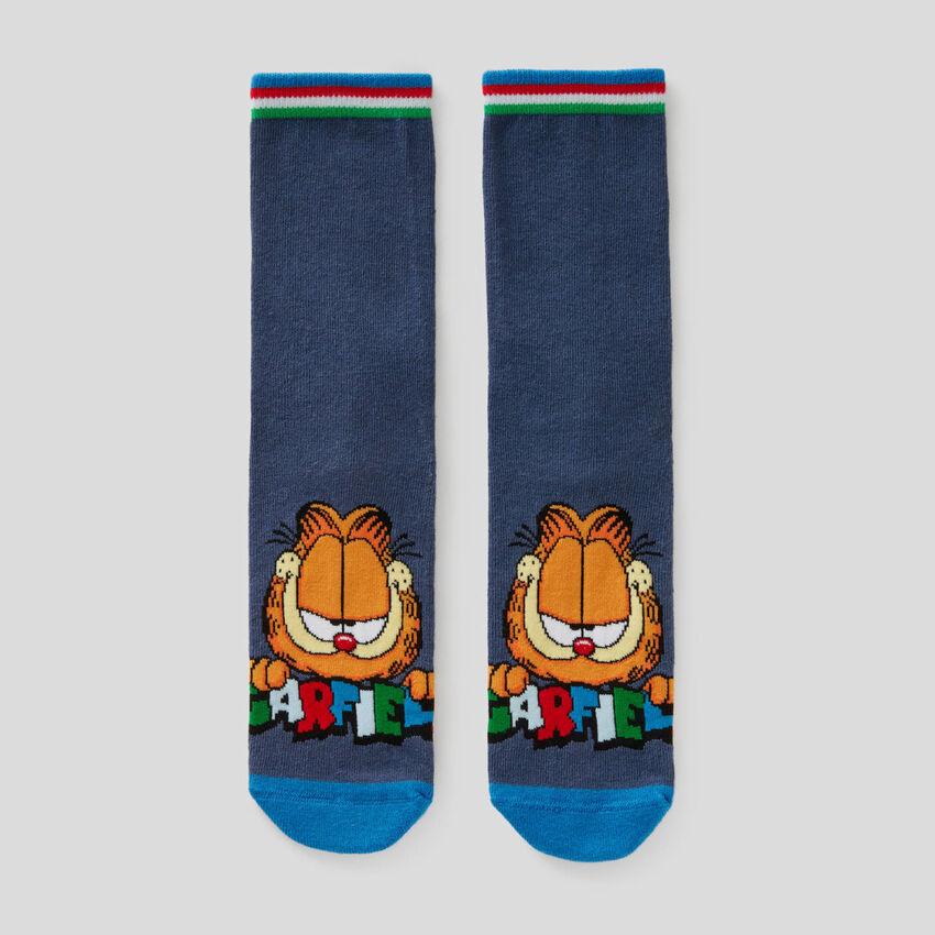 Calcetines azules con estampado de Garfield