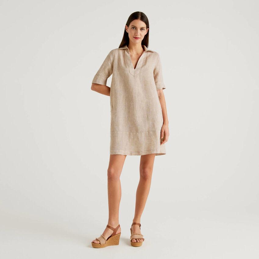 Vestido corto de 100% lino