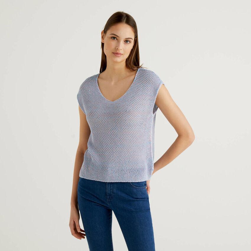Jersey labrado en rejilla de 100% algodón