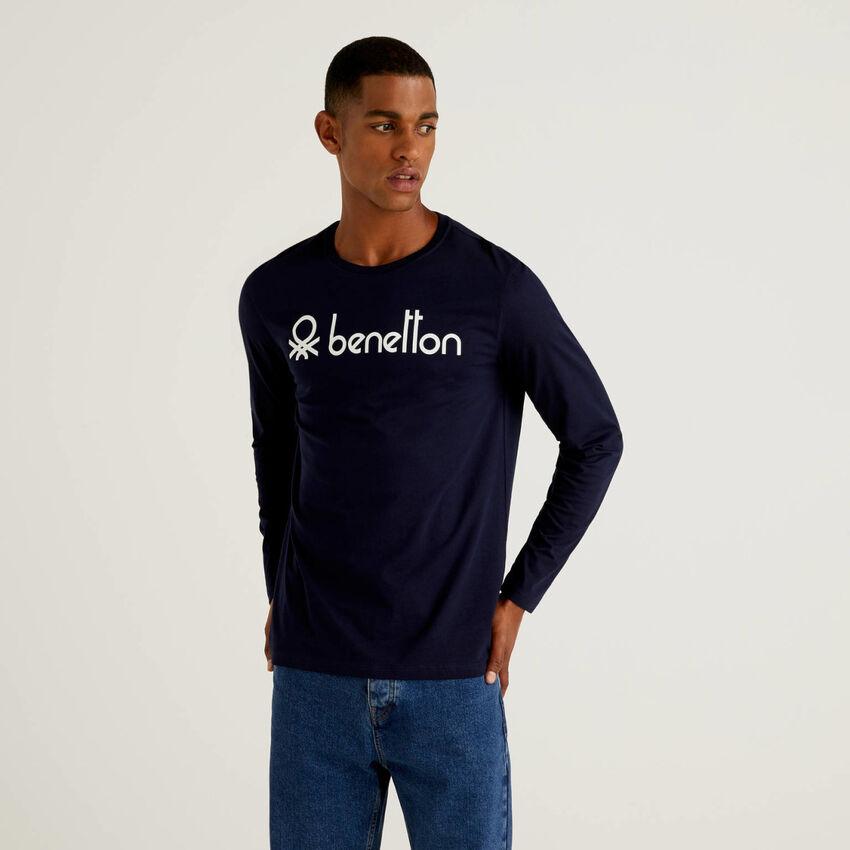 Camiseta de manga larga con estampado de logotipo