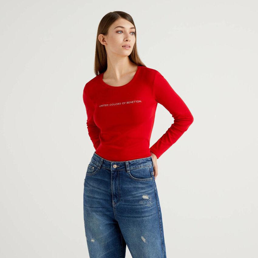 Camiseta roja de manga larga de 100 % algodón