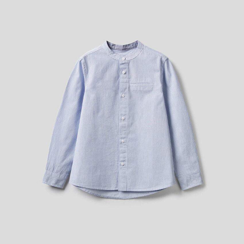 Camisa de 100 % algodón de cuello mao