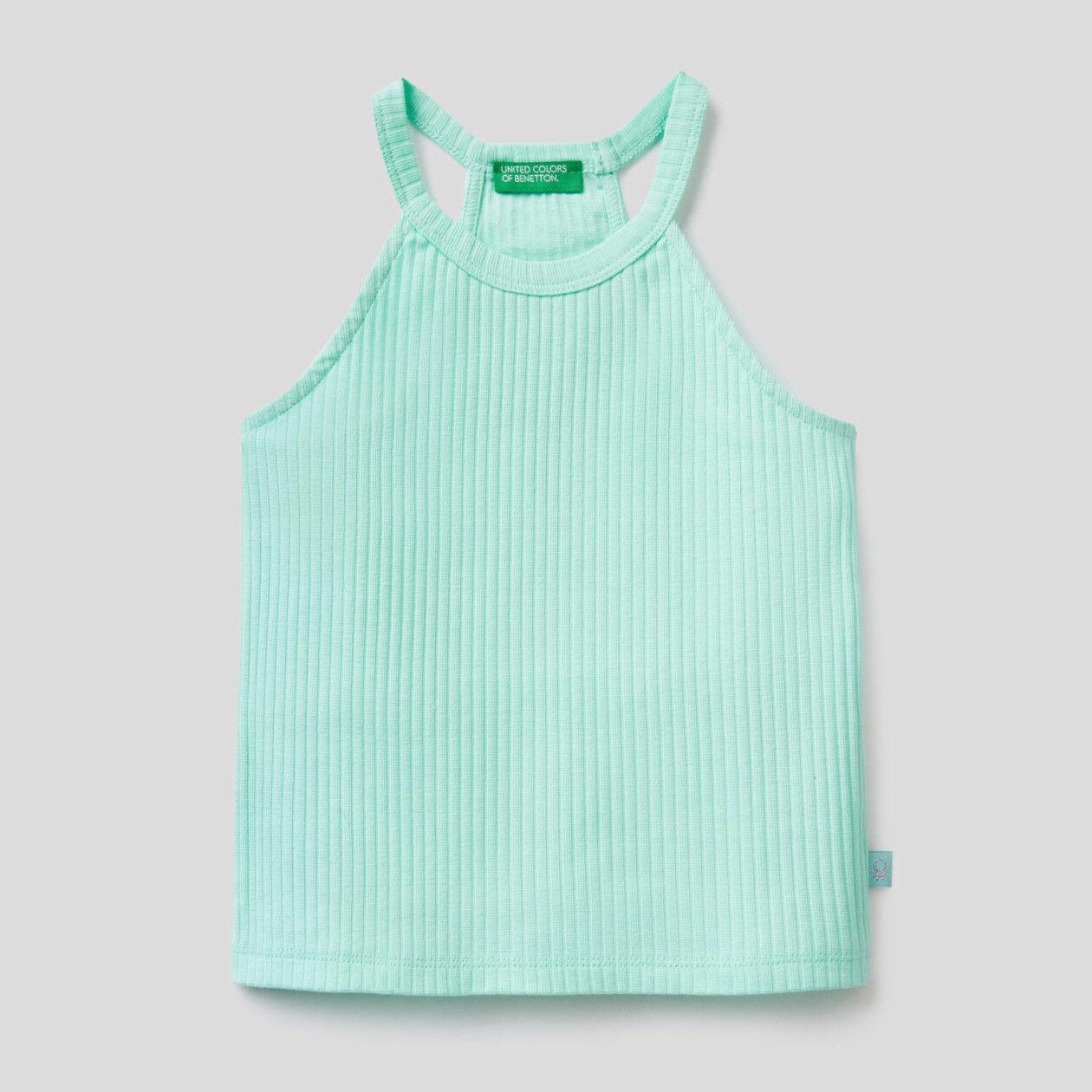 Top de algodón elástico sin mangas