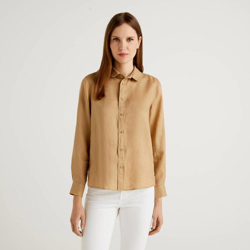 Camisa de manga larga de 100% lino