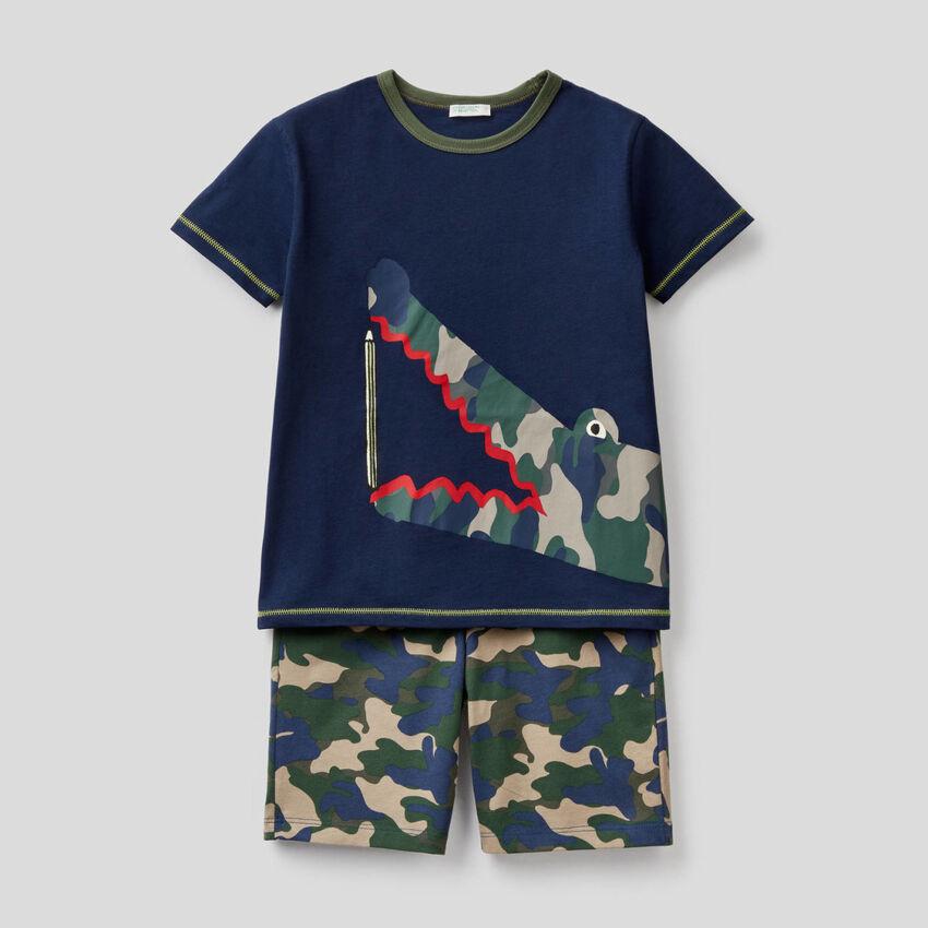 Pijama corto de 100% algodón
