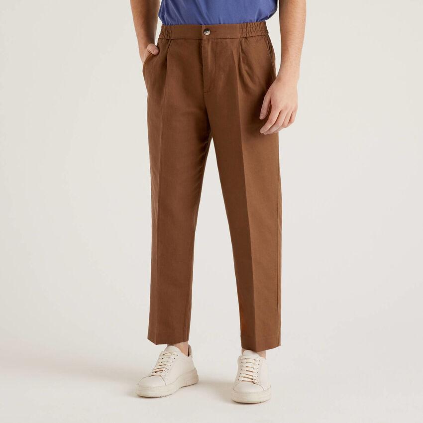 Pantalón de lino mixto con elástico en la cintura