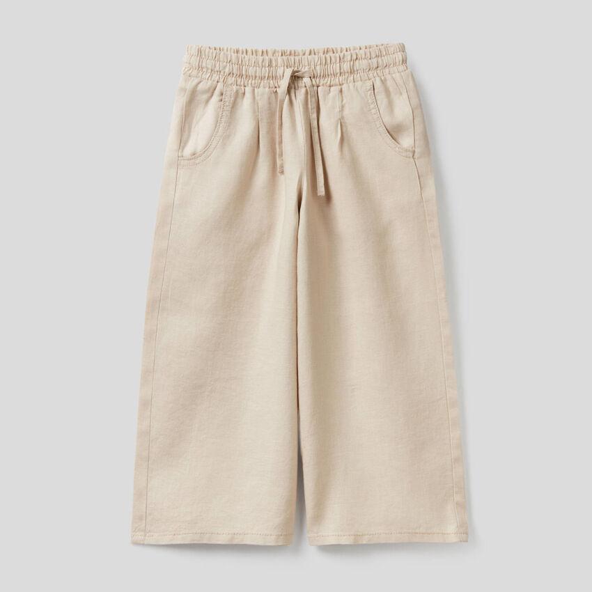 Pantalón amplio de 100% lino