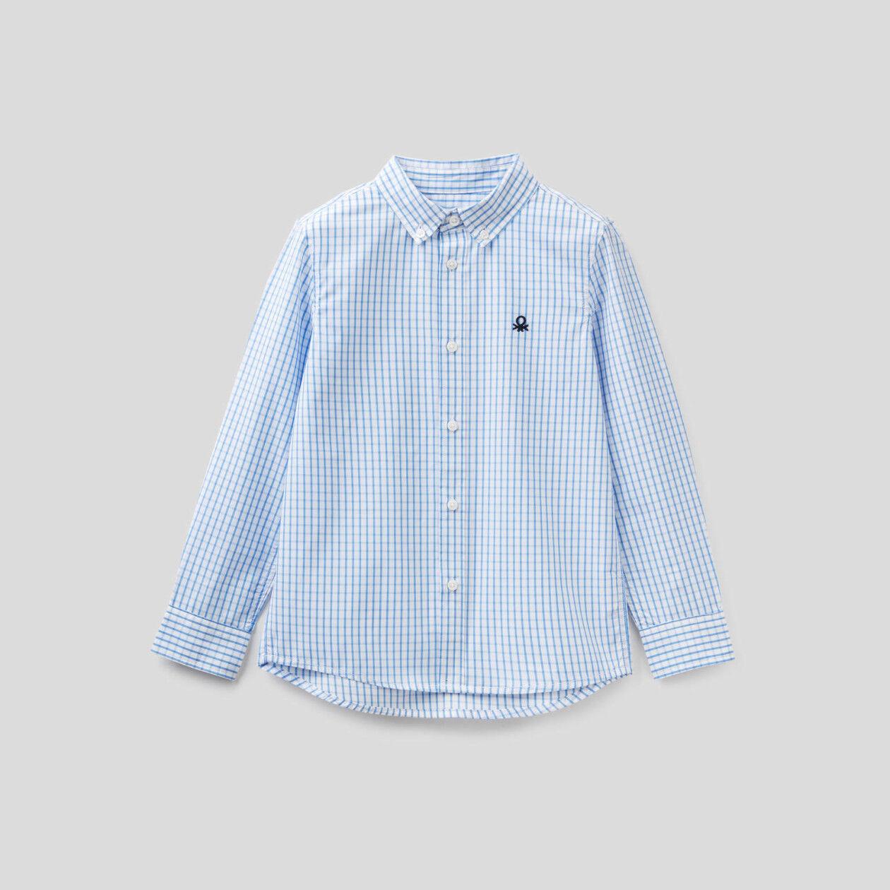 Camisa deportiva de cuadros de algodón puro