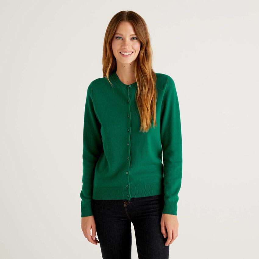 Cárdigan de cuello redondo verde oscuro de pura lana virgen