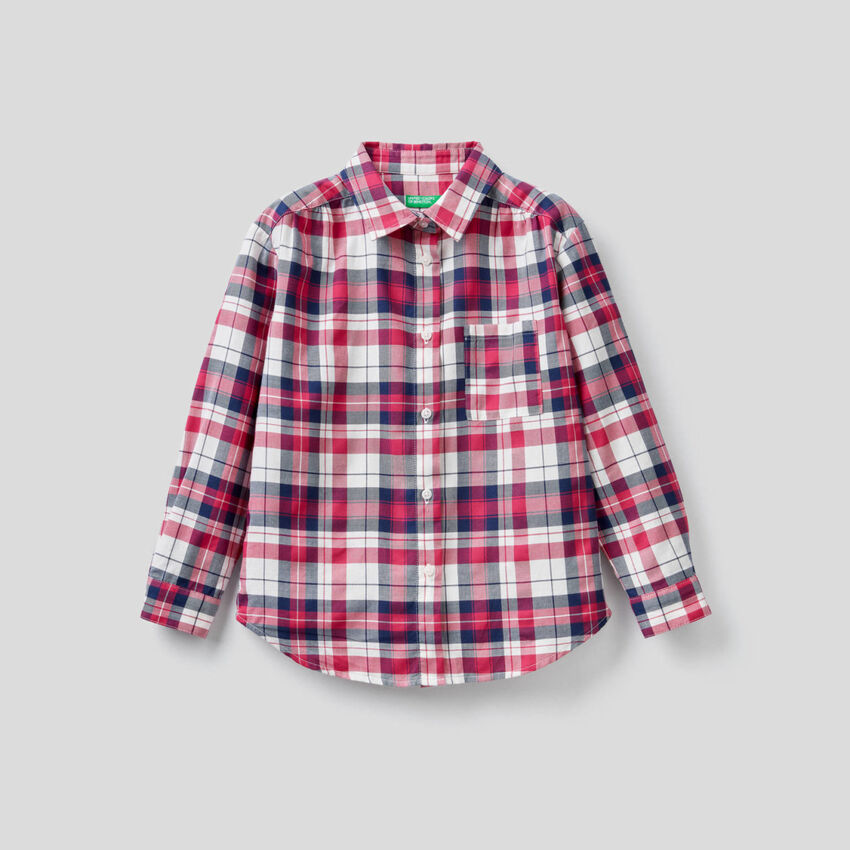 Camisa de cuadros de algodón mixto