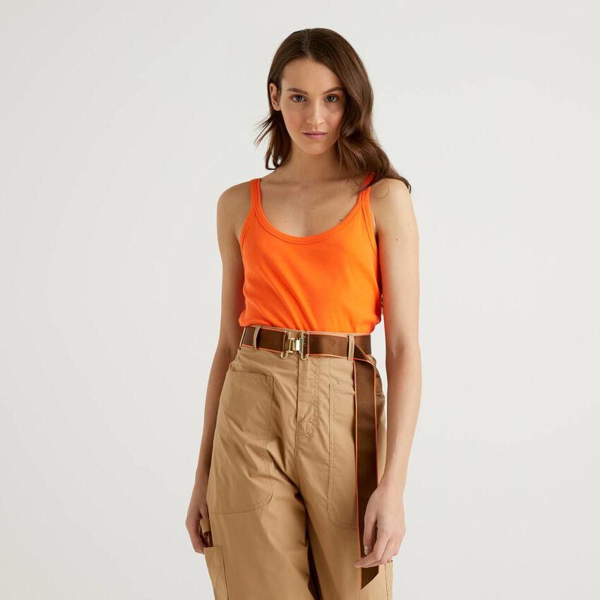 Camiseta de tirantes naranja de algodón puro
