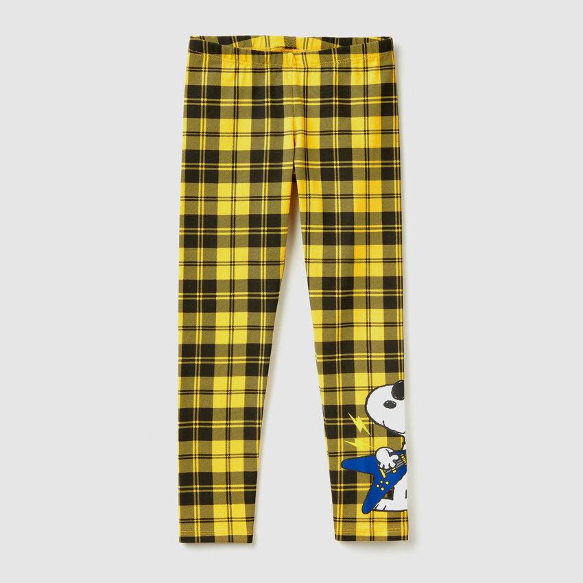"""Leggings de cuadros con estampado de """"Snoopy"""""""