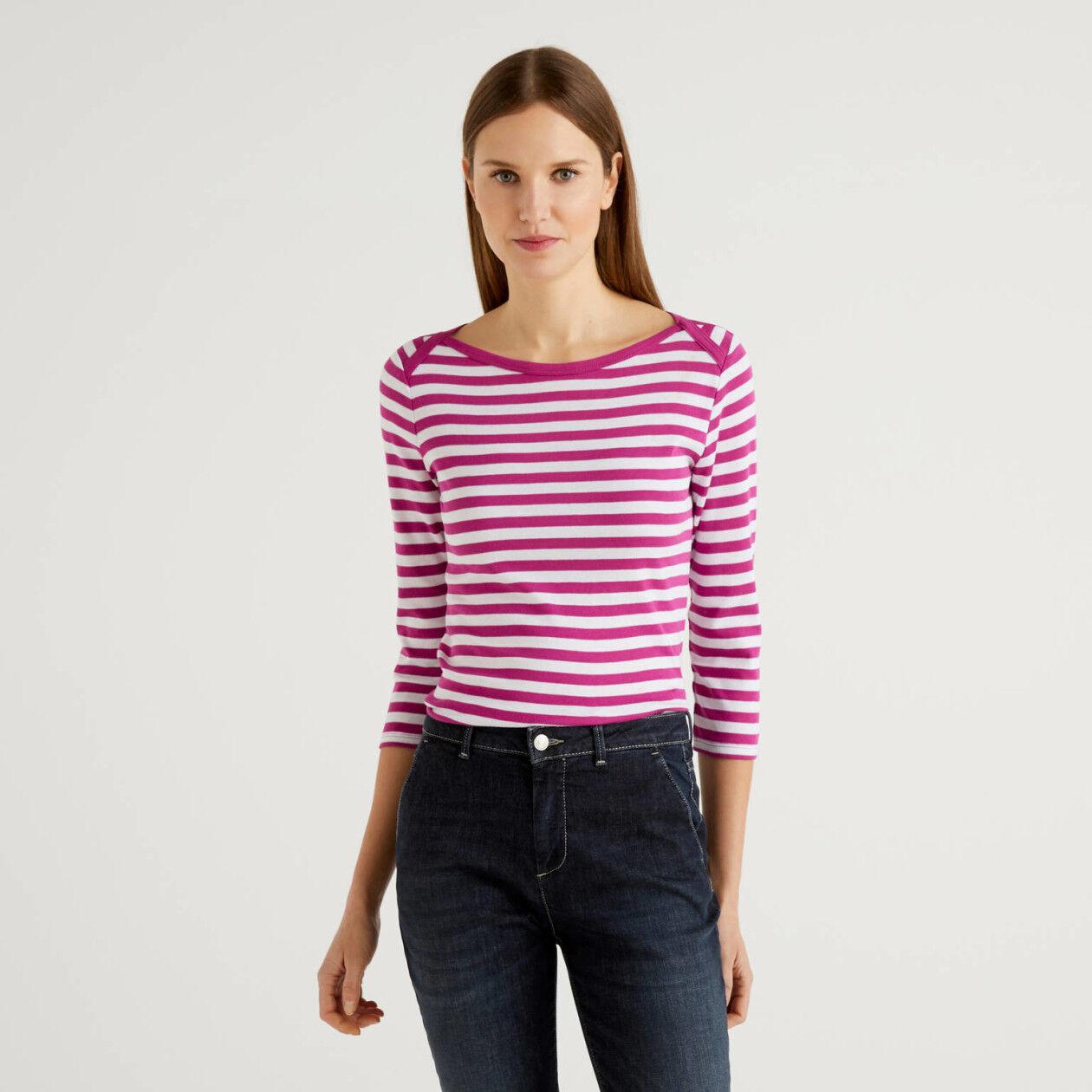 Camiseta de manga francesa de rayas de algodón puro