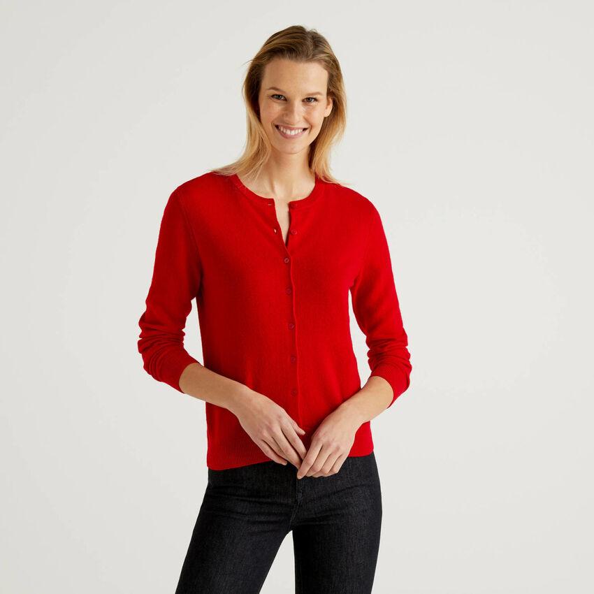Cárdigan de cuello redondo rojo de pura lana virgen