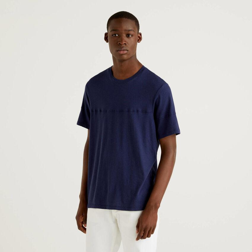 Camiseta lisa de lino mixto